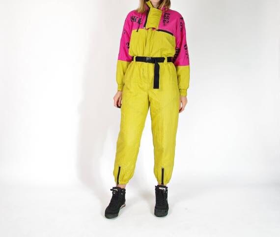 80s vintage neon ski suit one piece coveralls / size M