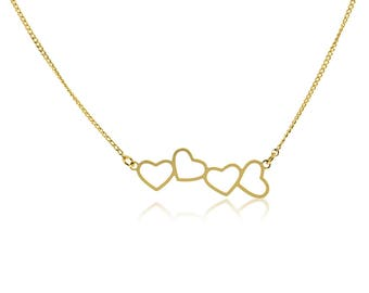 Hearts Necklace, Hearts Shaped Necklace, Gold Heart Necklace, Heart Pendant Necklace, Love Necklaces, Short Necklaces, Gold Plated Jewelry