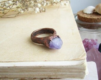 Raw amethyst ring, raw stone jewelry, chunky ring, boho jewelry, raw crystal ring, rough amethyst ring,  electroformed ring, witchcraft