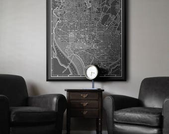 Washington DC Map : Black and white vintage Washington DC map print poster Circa 1891 - District of Columbia Map