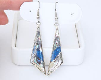 Vintage Alpaca Mexico Earrings - Sterling Silver and Abalone - Beautiful Blue And Other Colors - Long - Scalene Triangles