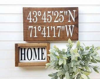 Farmhouse Decor - Coordinates Sign - Farmhouse Signs - Coordinate Signs - GPS Sign - Farmhouse Style Sign - Coordinates - FREE SHIPPING