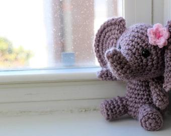 RTS Handmade Grey Elephant, Gray Stuffed Elephant, Amigurumi Jungle Animal, Stuffed Animal for Girl, Jungle Plush Animal, Baby Shower