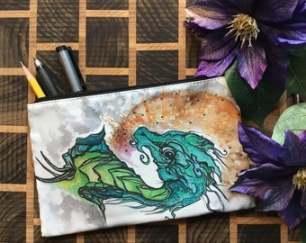 Dragon Original Artwork Cosmetic - Pencil- Stuff Bag By Kayla Klassy