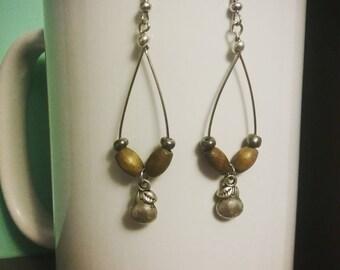 Rustic pear hanging loop earrings