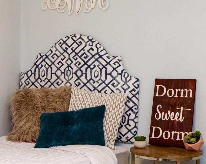 "30"" Dorm Twin Headboard, Indigo Printed Fabric, Dorm Headboard or Twin Headboard, Dorm Decor, No-Nail Headboard"