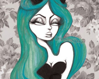 Up Jumped the Devil by Dirty Teacup Designs 8x10 Pop Surrealism Horns Evil Girl Pastel Goth Pinup Fine Art Print