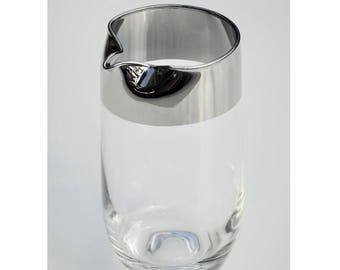 Dorthy Thorpe Vintage Glass Pitcher, Wide Silver Band, Handless, Roly-Poly Bottom, Mid-Century Barware / Glassware, Mad Men Craft Cocktails