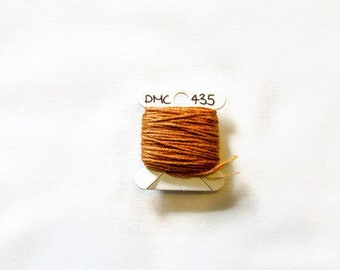 Golden brown embroidery thread,  DMC 435, stranded embroidery floss, cross stitch supplies, stranded cotton