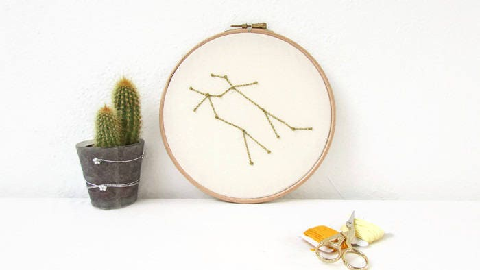 Gemini star sign gift hand embroidery hoop art june birthday