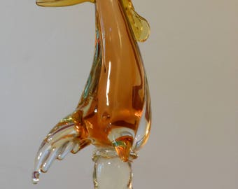 Tall, Heavy, Vintage Murano Art Glass Rooster