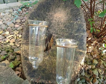 Pair of Clear Glass Wall Vases