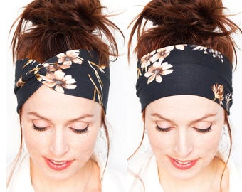 Black Headband w Flowers - White Flowers - Flowery Headband - Yoga Headband Womens Hair Accessories Workout Headwrap Valentine gift for her