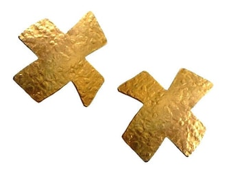 VAN DER STRAETEN ~ Authentic Vintage Gold Plated Hammered Abstract Cross Clip On Earrings