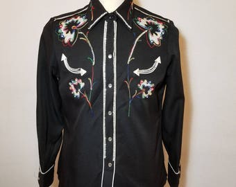 FREE  SHIPPING  Vintage  H Bar C  embroidered Western Shirt