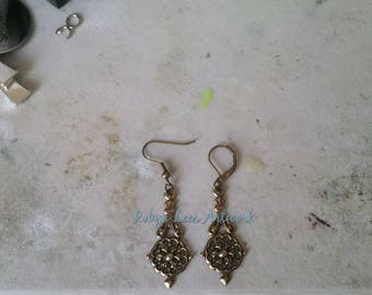 Bronze Victorian Style Filigree Charm Earrings on Bronze Earring Hooks or Leverbacks. Costume, Gothic, Steampunk, Different