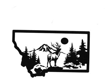 Elk and Mt. inside Montana State Vinyl Decal
