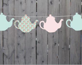 Tea Party Garland, Tea Party Decorations, Tea Party Banner