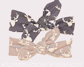 deer headband, knot headbands, toddler headbands, turban headbands, toddler girl deer, deerhead,