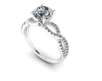Moissanite Engagement Ring, Platinum and Diamonds, Unique, Sculptural, Contemporary, Ethical Diamonds, Diamond Alternative