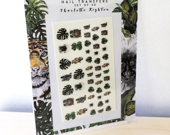 Animal nail decals - Nail art - animal nail stickers  -Monstera - Zoo party favour - Animal nail transfer - Tiger - zebra - monkey