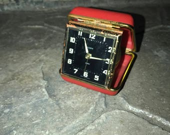 1950's Florn Wind Up Luminous Fold-Up Travel Alarm Clock Germany