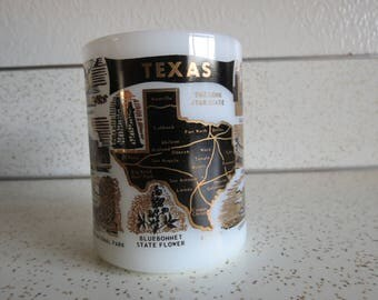Texas State Vintage Federal Milk Glass Coffee Mug, Longhorn, Alamo