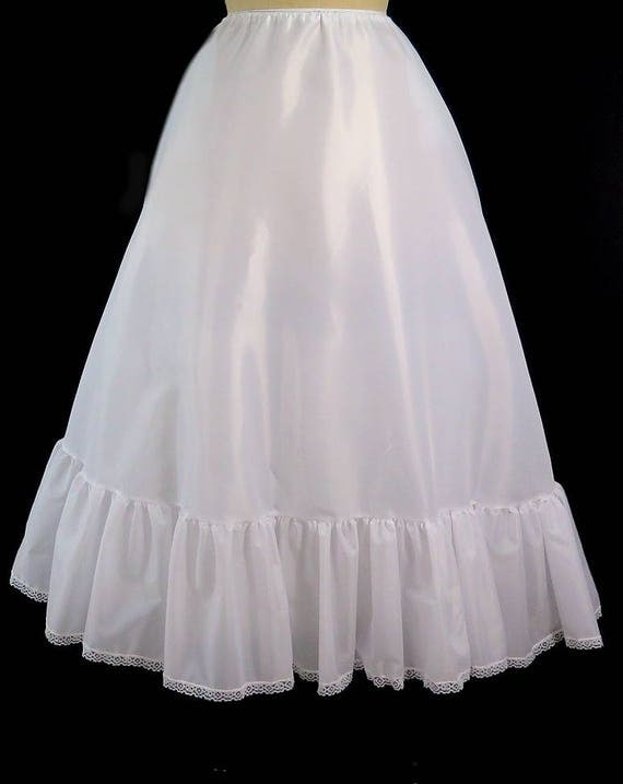 Victorian Skirts | Bustle, Walking, Edwardian Skirts White Victorian Petticoat Adjustable Waist Sizes 24-35
