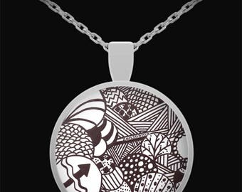 """Zentangle Necklace - B/W Tangle Art Necklace hand drawn by ZenJoanie """"Illumination"""""""