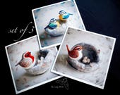 Set of 3 greeting cards by The Lady Moth - British bird cards - needle felted robin blue tit & wren - set of cards - wildlife card pack - UK
