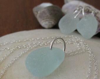 tiny aquamarine sea glass necklace & earrings, atlantic canada beach sea glass, SeaglassWithATwist