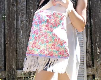 Handmade. Floral/pink/white/roses/lace fringe/lace strap/book bag/tote/shoulder bag/purse. Fun colors!