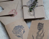 Hand pressed Greeting Cards / Pack of 3