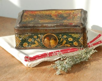 Boîte en fer décor d'oiseaux et de fleurs, Tin Box, French Candy box Frenchvintagecharm, brocante française