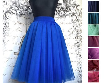 Tea length Royal blue Tulle skirt for women tulle skirt knee length skirt in blue office party skirt hight quality tulle skirt blue outfit
