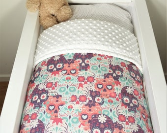 Bassinet quilt and/or fitted sheet - Sugar skulls (purple/pink/mint) AND white minky