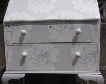 SOLD***SOLDVintage Writing Bureau restyled in Grey & White Flower Blooms