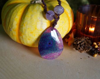 Purple Dyed Dragon Vein Agate and Amethyst ~ 1 Natural Hemp Handmade Necklace