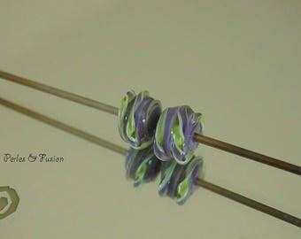 Set of 2 Lampwork Glass Beads * twist * purple/green - glass Lampwork - beads earrings-glass design beads glass earrings