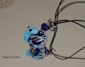 Pendant * frog * handcrafed Lampwork-turquoise/blue/black - handcrafted - frog pendant blue glass Lampwork frog necklace