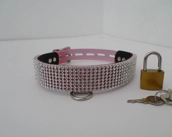 size 12-15 inch, 24mm wide pink leather collar with rhinestone mesh lockable with hanging d ring