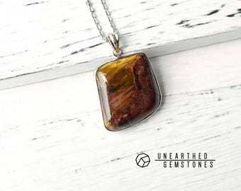 SALE Pietersite Pendant Necklace - Gift for Him, Gemstone Pendant, Healing Stone Necklace, Unique Necklace, Statement Jewelry