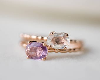 14k rose gold oval white sapphire ring, purple lavender sapphire ring, unique engagement ring, unheated sapphire free shipping, can-r101 rts