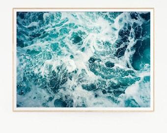 Printable Sea Waves Wall Decor Print Poster Tropical Beach Marine Foam Retro Vintage Colour Photo Nature Sea Minimalist Blue Water 1025