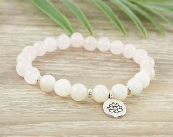 Genuine Moonstone Bracelet, Rose Quartz Bracelet, Moonstone Jewelry,  Lotus Bracelet, Gemstone Bracelet, Spiritual Jewelry, Yoga Bracelet