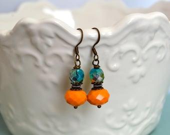 Orange Green Earrings, Vintage Earrings, Bohemian Earrings, Handmade Earrings, Gift Idea Under 20 Dollar, Gift For Her, Vintage Style, Boho