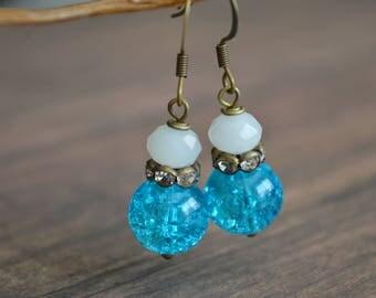 Blue And White Wedding Earrings, Vintage Style Jewelry, Handmade Vintage Earrings, Elegant Earring, Boho Earrings, Gift For Women Under 20.