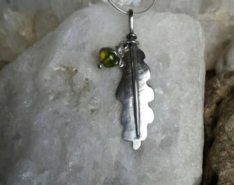 Sterling Silver Oak Leaf Pendant with Peridot Acorn