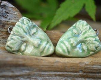 Garden Spirit-  Handmade Porcelain Celadon Raku Bead Pair
