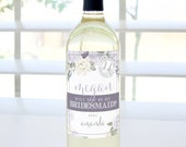 Will You Be My Bridesmaid? Custom Proposal Wine Label (Lavender & Sage) - Bridesmaid Proposal, Maid of Honor, Matron of Honor